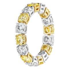 3.56 Carat Round White and Yellow Diamond Eternity Band Ring
