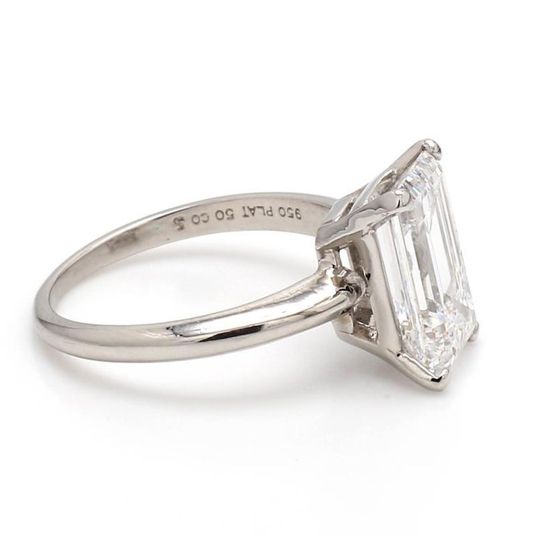 For sale is a platinum GIA certified 3.56ct Emerald cut diamond ring.   CENTER STONE: 3.56ct D IF Emerald Cut Diamond  METAL: Platinum  GRAMS: 4.6  SIZE: 6.25  LAB REPORT: GIA #2141524606  REFERENCE NUMBER: 408728/DX0673