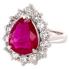 3.57 Carat Burma Ruby and Diamond Ring in Platinum