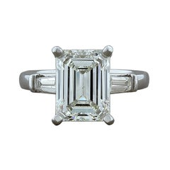 3.57 Carat Diamond Emerald Cut J VS2 Platinum Engagement Ring
