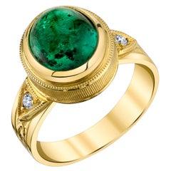 3.57 Carat Emerald Cabochon, Diamond Yellow Gold Bezel Dome Band Signet Ring