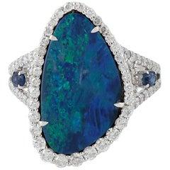 3.57 Carat Opal Diamond 18 Karat White Gold Ring