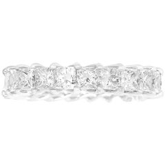 3.57 Carat Princess Cut White Diamond Eternity Band