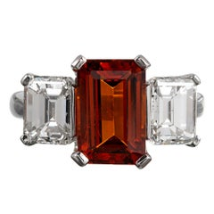 3.57 Carat Spessartite Garnet and Emerald Cut Diamond Ring