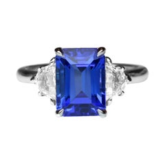 3.57 Carat Tanzanite Emerald Cut and Diamond Platinum Ring Fine Estate Jewelry