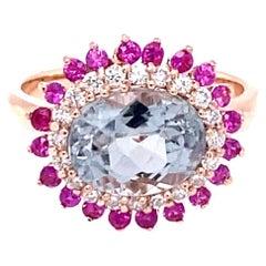 3.57 Carat Tourmaline Sapphire Diamond 14 Karat Rose Gold Cocktail Ring