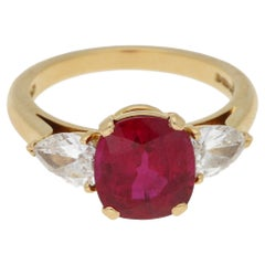 Burmese Ruby and Flawless Diamond Engagement Ring in 18k Yellow Gold