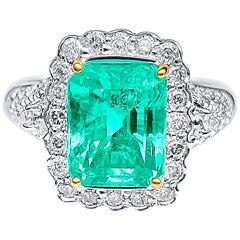 3.58 Carat Emerald-Cut Colombian Emerald, Diamond and 18 Karat White Gold Ring