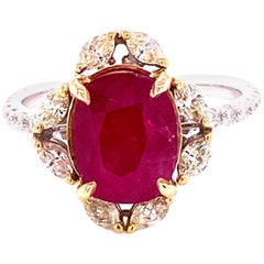 3.58 Carat GRS Certified No Heat Burmese Ruby and Diamond Engagement Ring