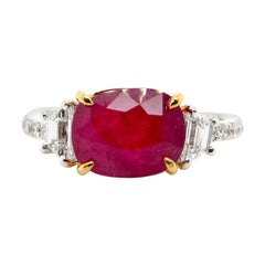 "3.58 Carat GRS Certified Unheated Burmese ""Mogok"" Ruby and White Diamond Ring"