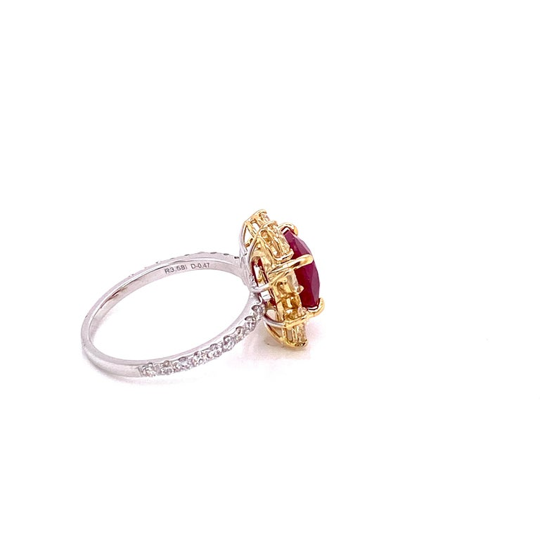 Contemporary 3.58 Carat GRS Certified Unheated Burmese Ruby and Diamond Gold Engagement Ring For Sale