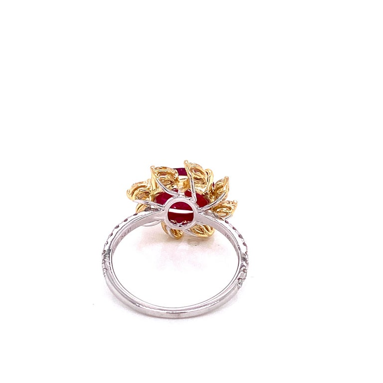 Cushion Cut 3.58 Carat GRS Certified Unheated Burmese Ruby and Diamond Gold Engagement Ring For Sale