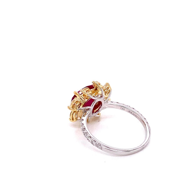 3.58 Carat GRS Certified Unheated Burmese Ruby and Diamond Gold Engagement Ring In New Condition For Sale In Hong Kong, HK