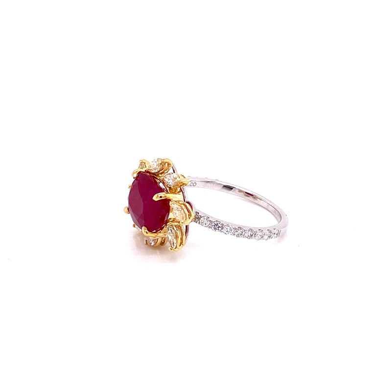 Women's or Men's 3.58 Carat GRS Certified Unheated Burmese Ruby and Diamond Gold Engagement Ring For Sale