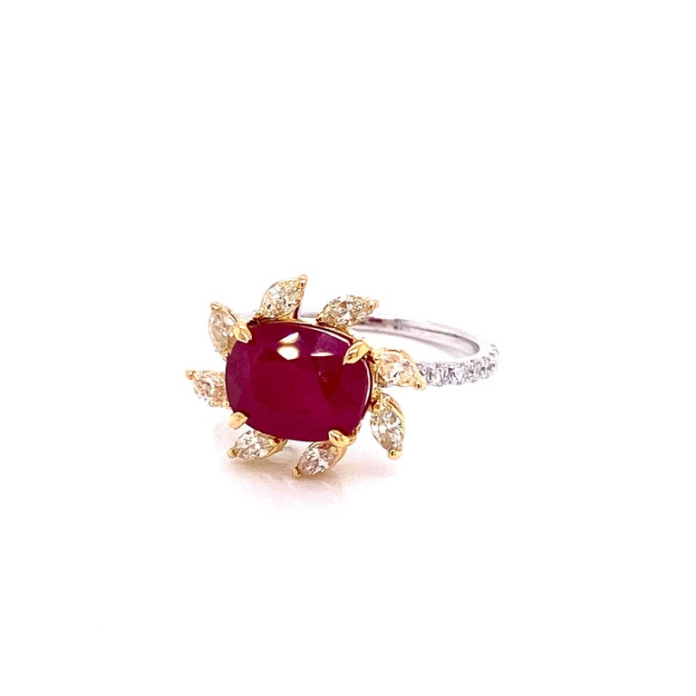 3.58 Carat GRS Certified Unheated Burmese Ruby and Diamond Gold Engagement Ring For Sale 1