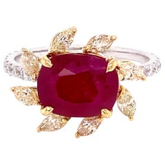 3.58 Carat GRS Certified Unheated Burmese Ruby and Diamond Gold Engagement Ring
