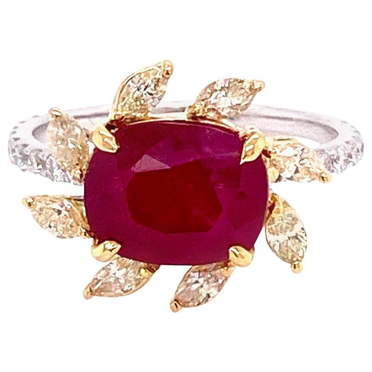 3.58 Carat GRS Certified Unheated Burmese Ruby and Diamond Gold Engagement Ring For Sale