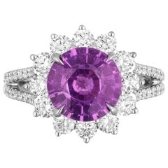 3.58 Carat Natural No Heat Pinkish Purple Sapphire Diamond Cocktail Ring