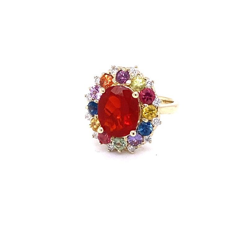 Contemporary 3.58 Carat Oval Cut Fire Opal Sapphire Diamond 14 Karat Yellow Gold Ring