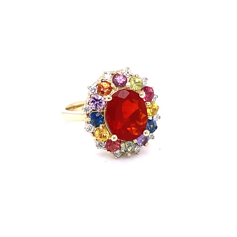 3.58 Carat Oval Cut Fire Opal Sapphire Diamond 14 Karat Yellow Gold Ring In New Condition In San Dimas, CA