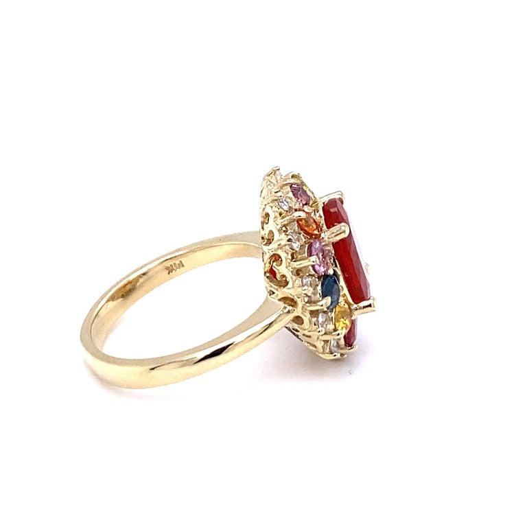 Women's 3.58 Carat Oval Cut Fire Opal Sapphire Diamond 14 Karat Yellow Gold Ring