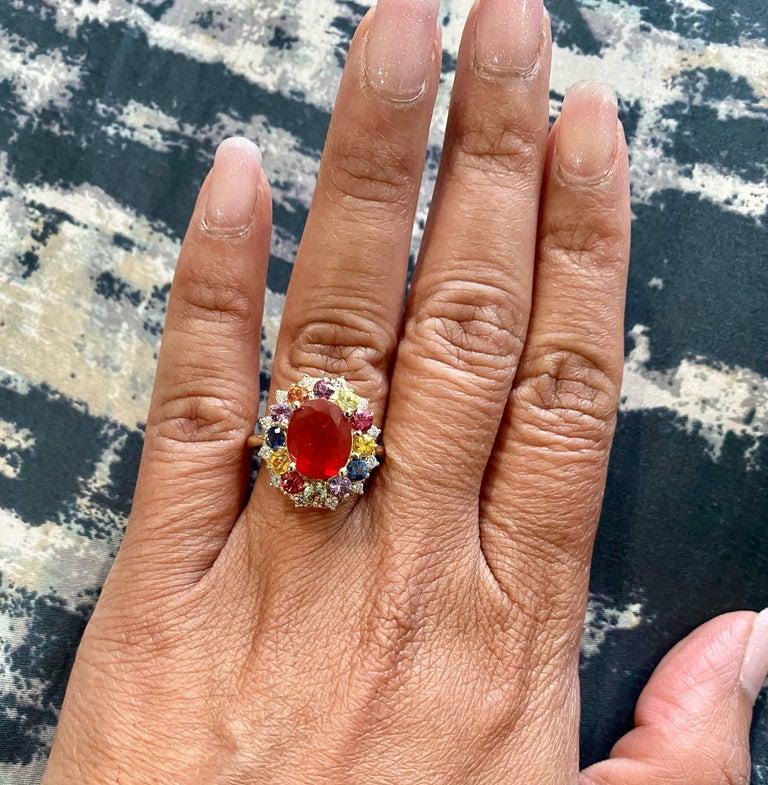 3.58 Carat Oval Cut Fire Opal Sapphire Diamond 14 Karat Yellow Gold Ring 1