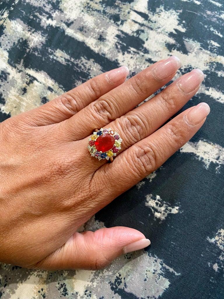 3.58 Carat Oval Cut Fire Opal Sapphire Diamond 14 Karat Yellow Gold Ring 2