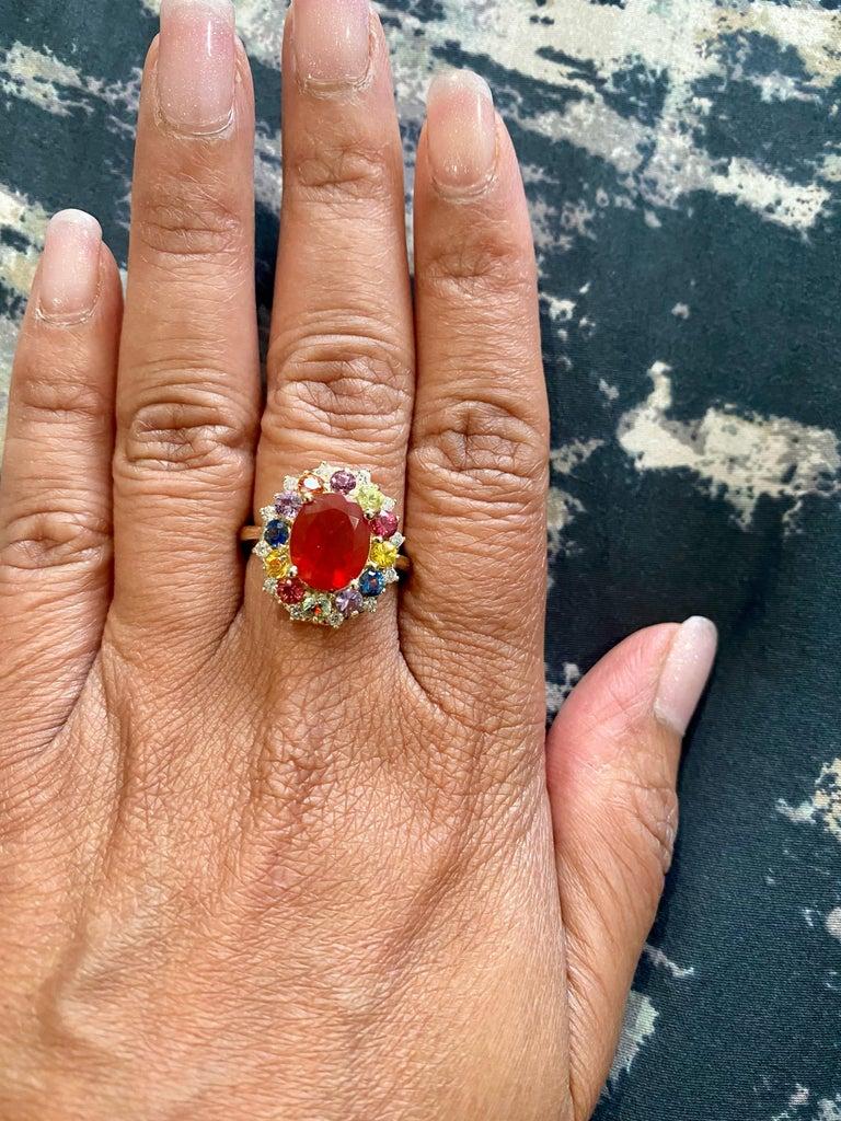 3.58 Carat Oval Cut Fire Opal Sapphire Diamond 14 Karat Yellow Gold Ring 3