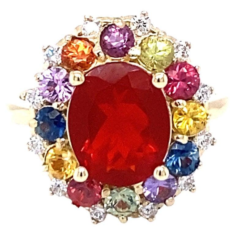 3.58 Carat Oval Cut Fire Opal Sapphire Diamond 14 Karat Yellow Gold Ring