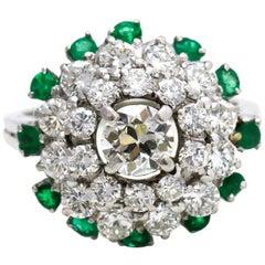 3.58 Carat Platinum Diamond Emerald Cluster Ring
