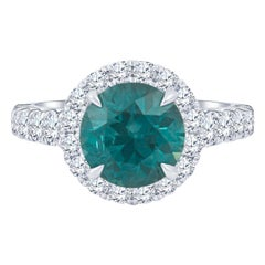 3.58 Carat Round Green-Blue Montana Sapphire 'AGL' and Diamond Engagement Ring