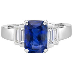 3.58 Carat Royal Blue Sapphire GRS Certified Non Heated Diamond Ring Octagon Cut