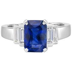 3.58 Carat Sri Lanka Sapphire GIA Certified Sri Lanka Diamond Ring Octagon Cut