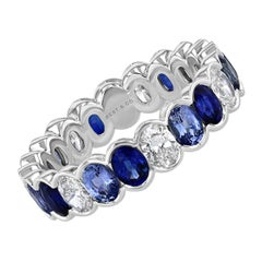 3.58 tcw Blue Sapphire and Diamond Oval Eternity Band