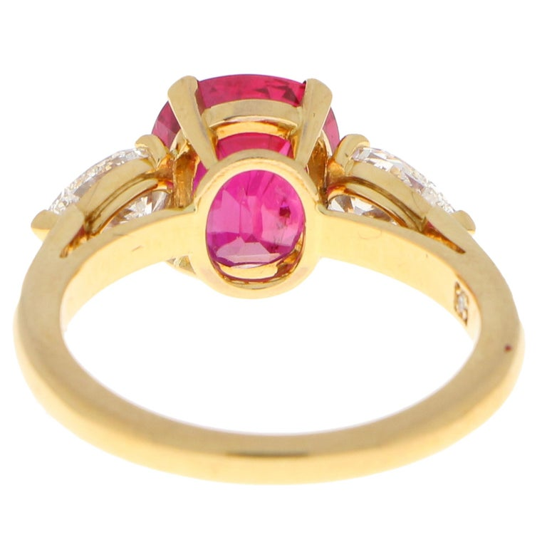 Cushion Cut 3.58 Carat Burmese Red Ruby and Diamond Ring Set in 18 Karat Yellow Gold For Sale