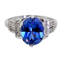 3.59 Carat Ceylon Blue Sapphire and Rose Cut Diamond Platinum Ring