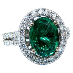 3.59 Carat Natural Vivid Green Emerald Diamonds Floating Halo Ring 14 Karat
