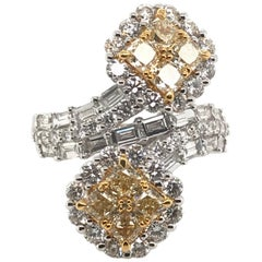 3.59 Carat Natural Yellow Diamond Princess Cluster Diamond Ring