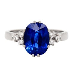 3.59 Carat Oval Sapphire and Diamond Platinum Engagement Ring
