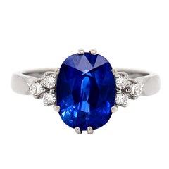 3.59 Carat Oval Sapphire and Diamond Platinum Engagement Ring