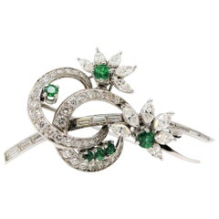 Emerald and Multi Shape Diamond Swirling Design with Flowers Platinum Brooch