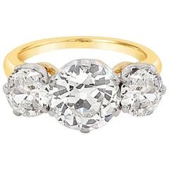 3.59 Carat Total Weight Old European Cut Diamond Three-Stone Ring