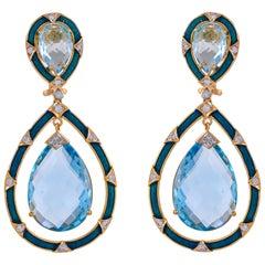 35.99 Carat Blue Topaz Enamel Diamond 18 Karat Yellow Gold Teardrop Earring