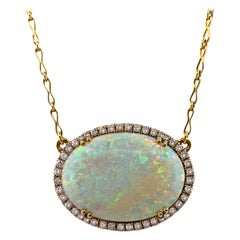36 Carat Australian White Opal Pendant Necklace with 1.12 Carat Diamond Halo