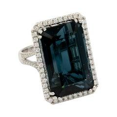 36+ Carat Blue Tourmaline Ring with 2.68 Carats of Diamonds