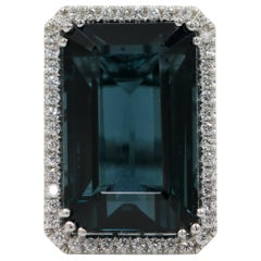 36+ Carat Blue Tourmaline Ring with Diamonds 14 Karat Gold