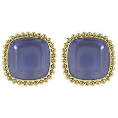 36 Carat Chalcedony Earrings
