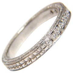 .36 Carat Diamond Platinum Band Edwardian Deco