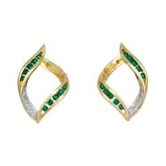 .36 Carat Emerald Diamond Yellow Gold Swirl Hoop Earrings