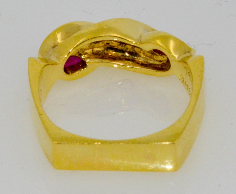 .36 Carat Marquise Ruby 18 Karat Yellow Gold Fashion Ring In Excellent Condition For Sale In Dallas, TX